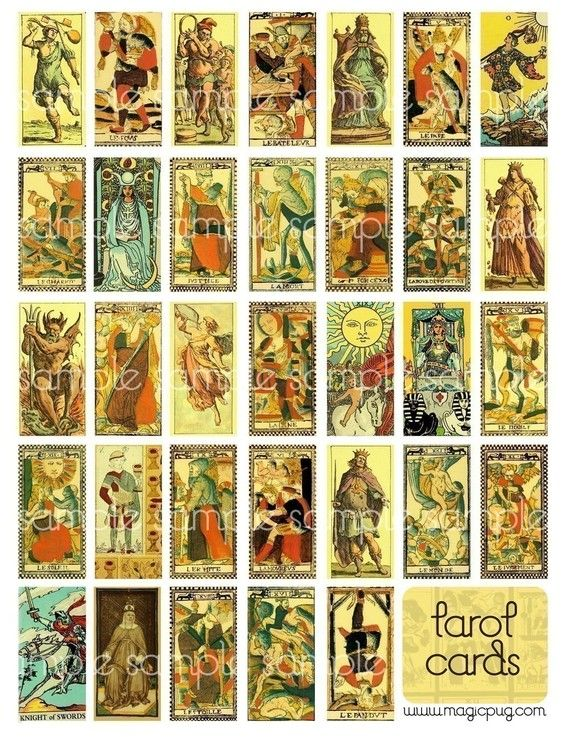 Antique Tarot Card Digital Collage Sheet for domino by magicpug, $3.50