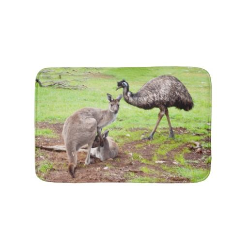 Kangaroo And Emu, Small Memory Foam Bath Mat Bath Mats