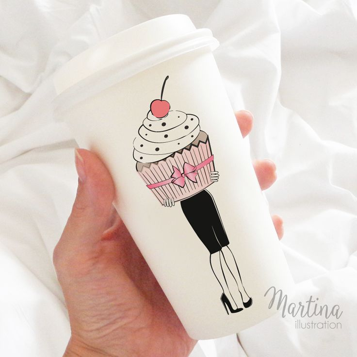illustrated coffee cup cupcake girl