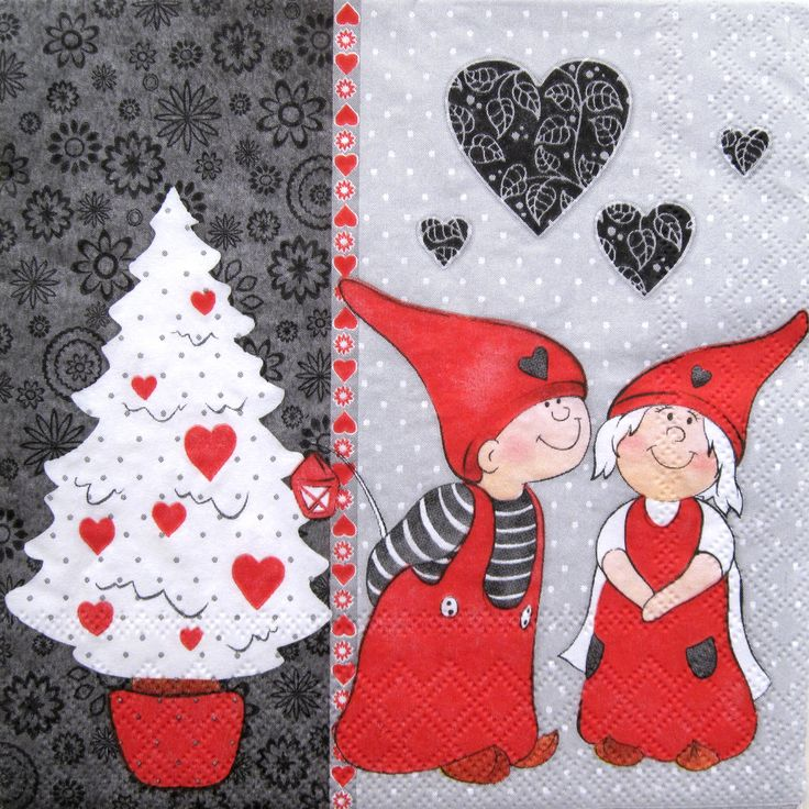 Christmas Love, Decoupage paper napkins, Set of 3 paper napkins, size 33x33cm (no.103) by ArsaiSupplies on Etsy