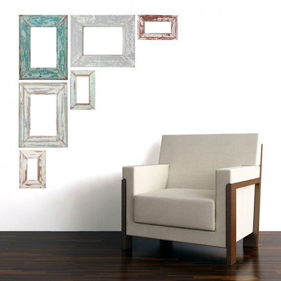 weathered adh sif photo frame wall decals par. Black Bedroom Furniture Sets. Home Design Ideas