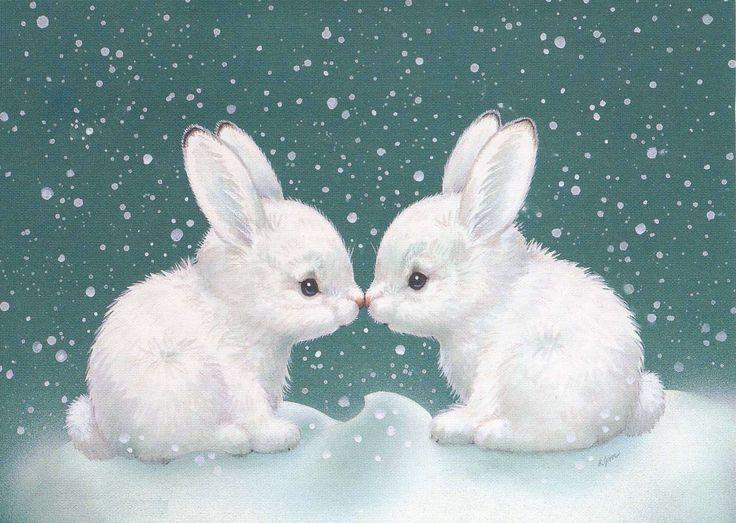 Три, открытка белые кролики