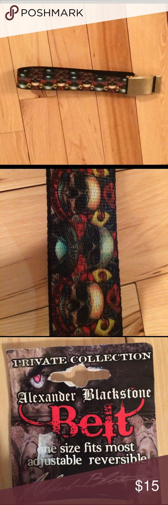Alexander Blackstone belt Cool print with colorful skulls alexander stone Accessories Belts