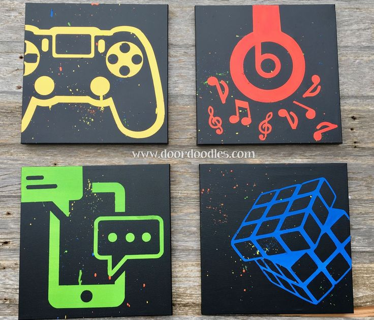 Social media canvas art, teen bedroom wall, teenager, preteen, Twitter, Gamer, PS4, Nintendo, Play Station, Wii, Beats headphones, music, Apple, cell phone, text, texting, Rubiks cube, icon, symbol  http://www.doordoodles.com/store/p413/Custom_canvas_wall_art_featuring_social_media_icons%2C_video_games%2C_music_-_your_choice_customizable%21.html