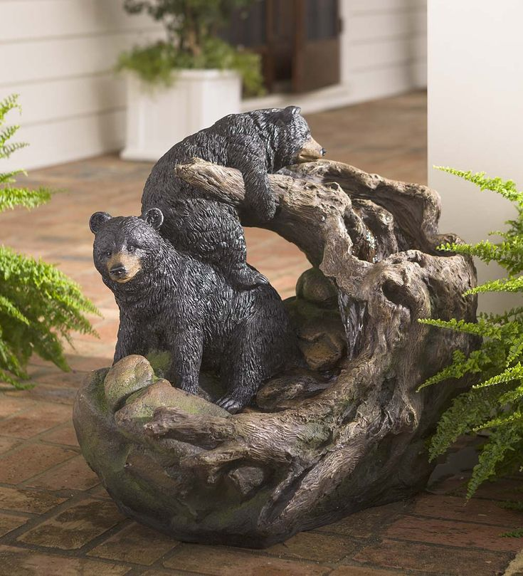 Loving This Rapidan Bears Lighted Garden Fountain On