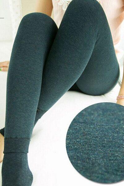 Green High-waisted Seamless Thicken Winter Leggings