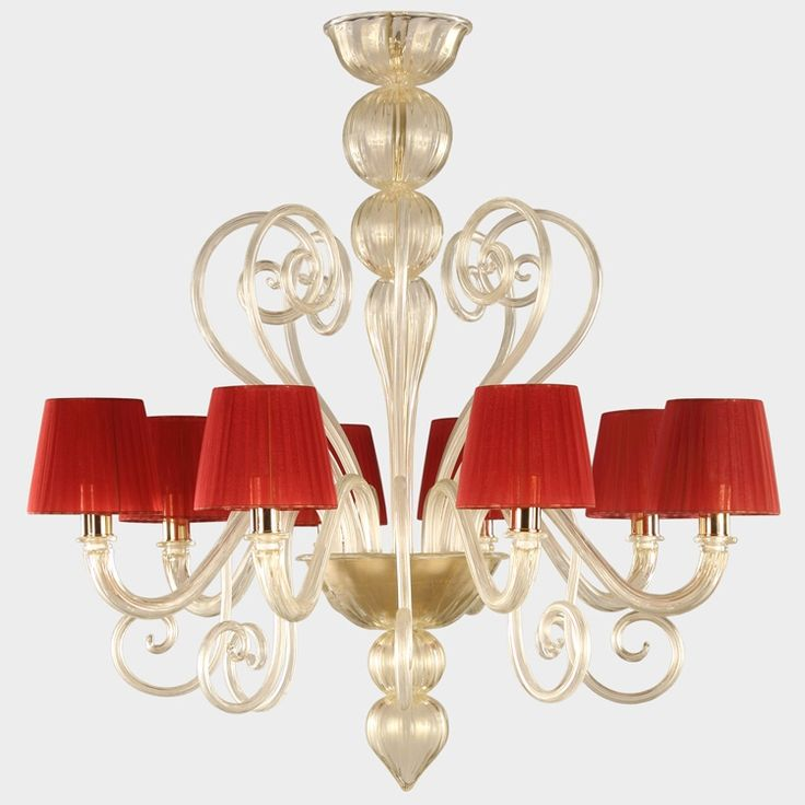 8 light venetian glass handcrafted #lightwork, gold color, red #lampshades. #Gatsby collection.