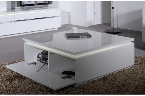 Table Basse Blanche Carrée avec Rangement et Eclairage LED Intégré Electrik