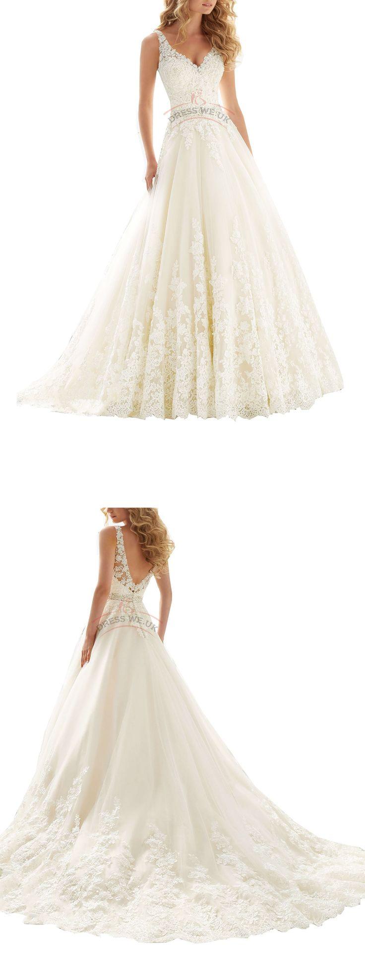 Largos Pretty Double V-Neck Wedding Dresses,Lace Applique Wedding Dresses,Corset Wedding Dresses,Empire Chapel Train Wedding Dresses - 2016