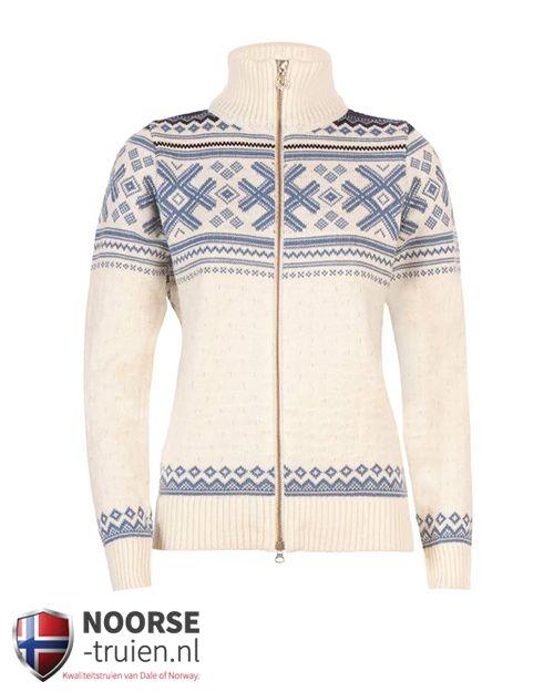 Dale of Norway: Haukeli dames jack. Prachtig lichte trui met hele rits en halfhoge kraag.