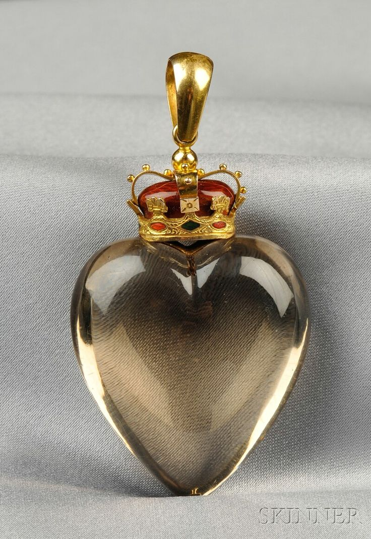 Victorian Smoky Quartz and Enamel Pendant, the smoky quartz heart surmounted by a 14kt gold crown with green and red enamel highlights.