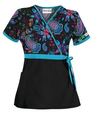 UA Wild Gypsy Black Mock Wrap Scrub Top - Style # UA28WGB #uniformadvantage #uascrubs #adayinscrubs #floralscrubs #scrubs