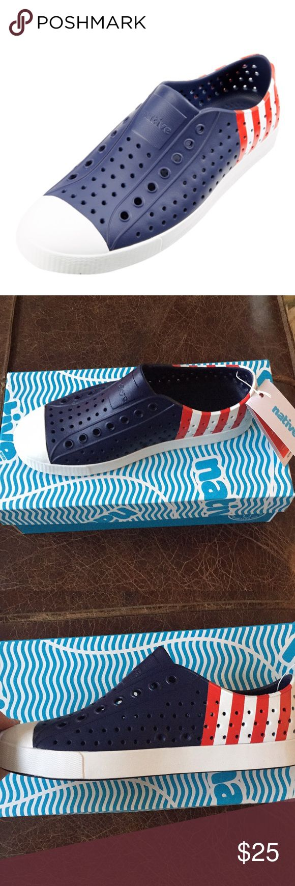 Native Jefferson Block water shoe W 8 M 6 Injection molded EVA construction. Rubber rand and toe. Details Unisex water shoe. Perforated upper for breathability. Beast free—made without animal parts (Vegan approved). Shock absorbent. Hand washable. Odor resistant. Mondo lightweight. Country of Origin Imported. Women's size 8 men's size 6 New with box Native Shoes
