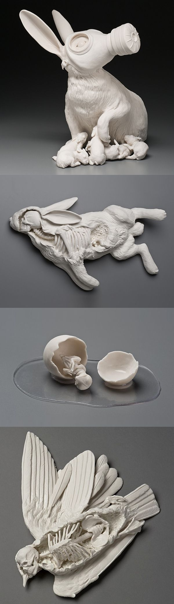 "Beautiful and thought-provoking porcelain sculptures by Kate MacDowell. ""These pieces are in part responses to environmental stressors including climate change, toxic pollution, and gm crops. They also borrow from myth, art history, figures of speech and other cultural touchstones. In some pieces aspects of the human figure stand-in for ourselves and act out sometimes harrowing, sometimes humorous transformations which illustrate our current relationship with the natural world."""