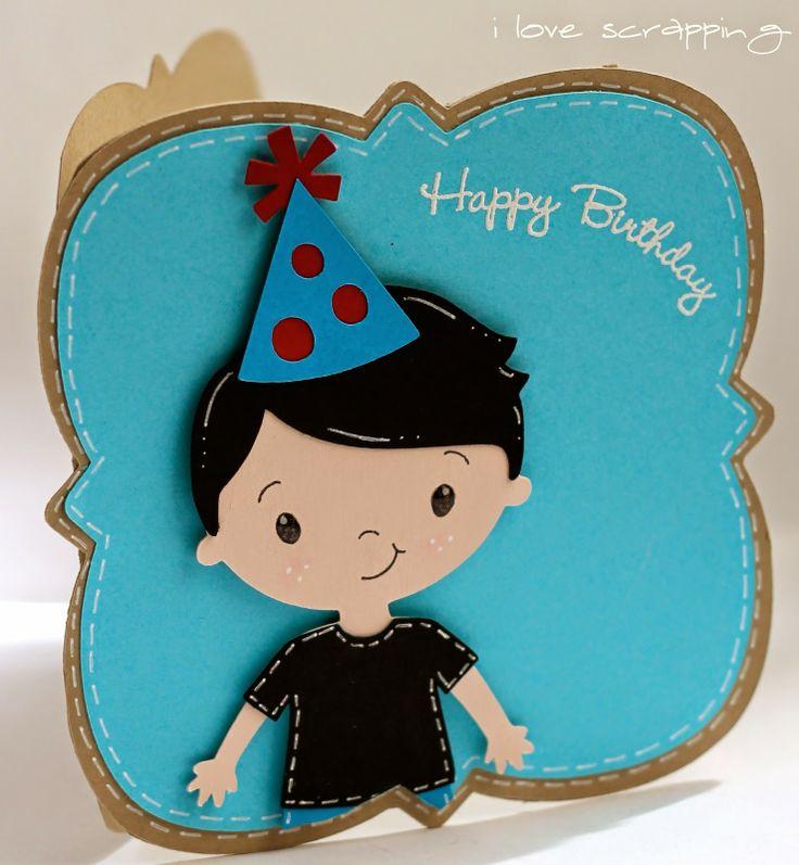 Birthday Card made with Elegant Edges and Create a Friend Cricut cartridges.