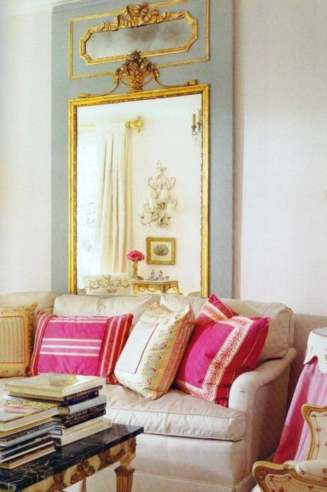 beautiful french mirrorBeautiful Mirrors, Accent Pillows, French Mirrors, Living Room, Beautiful French, Colors Palettes, Pink Pillows, Gold Accents, French Style
