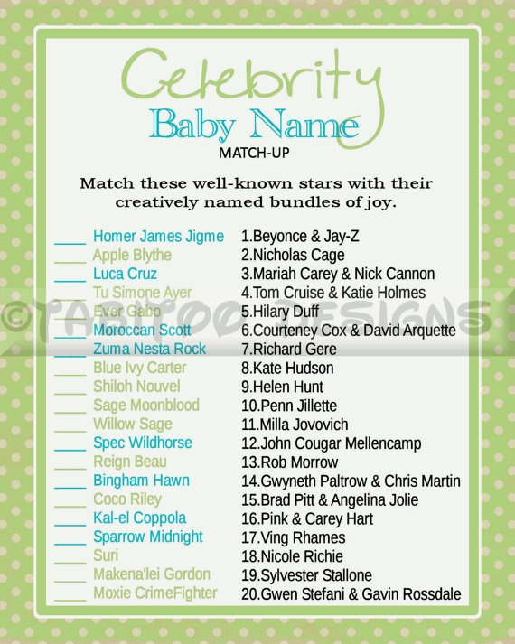 Celebrity Baby Name Match Up Game - Baby Shower - PRINTABLE. Enter code PIN10 and receive 10% off your order!