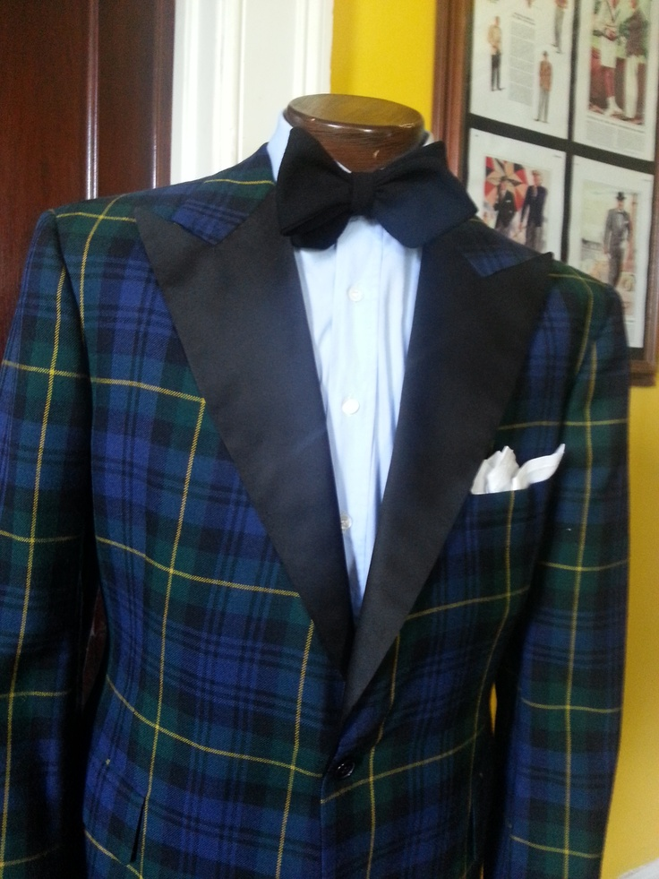 Wool Tartan Dinner Jacket w/ Lt Blue Cotton Sateen Shirt and Wool Crepe Self Tie Bow Tie.