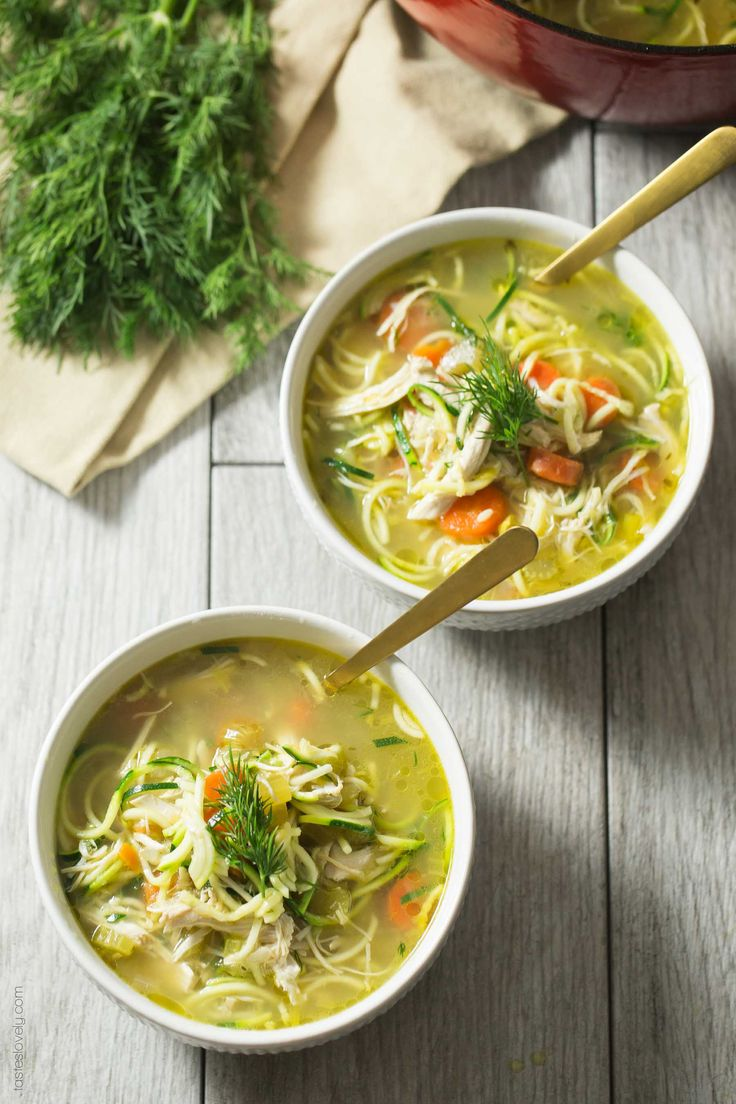 Chicken Zoodle Soup with Dill