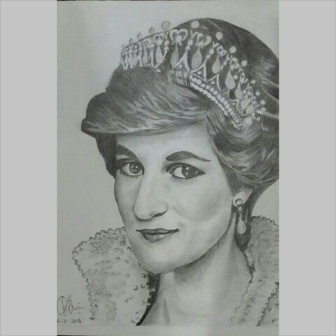Diana, Princess of Wales  1961-1997  A5 paper, 2B graphite pencil #sketch