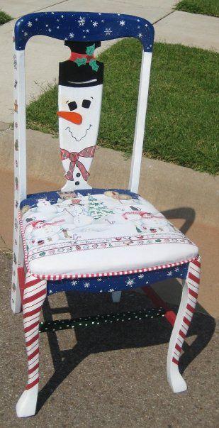 Handpainted Christmas chair
