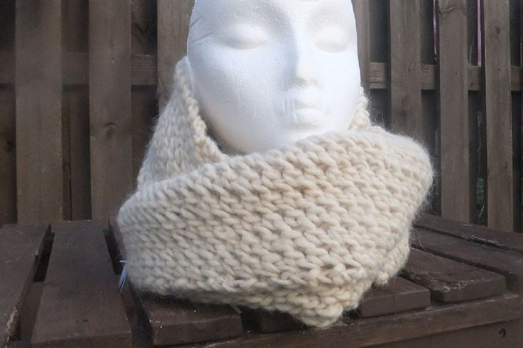 There's no way you'll be cold wearing this cream cowl in a luxury Alpaca, Merino Wool and acrylic yarn! It can be worn as shown or as a long infinity scarf. £27 + £3 P&P