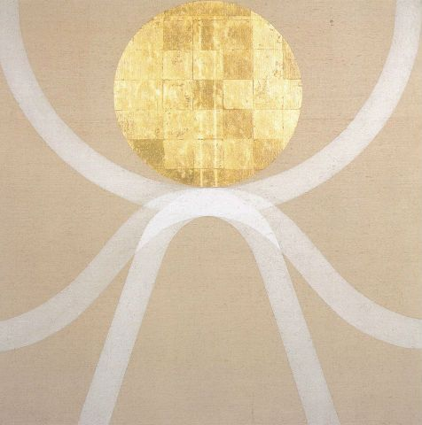 Referred to as his Gold Paintings, these paintings use simple geometric forms in gold leaf and tempera paint. Many are created on large rectangular unprimed canvases. Scott is concerned with balancing the relationship between the forms and the space in which they are placed. He began using gold leaf from 1964. The technique for applying the thin sheets of gold leaf is complex and requires considerable dexterity and patience.