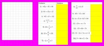 Winter Math Algebra Equations Review - Google Classroom Ready