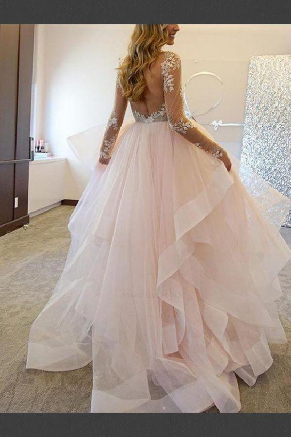 Wedding Dresses V Neck Pink Wedding Dresses V Neck Wedding Dresses Blush Wedding D Asymmetrical Wedding Dress Blush Pink Wedding Dress Wedding Dress Sleeves,Princess Peach Wedding Dress Cosplay