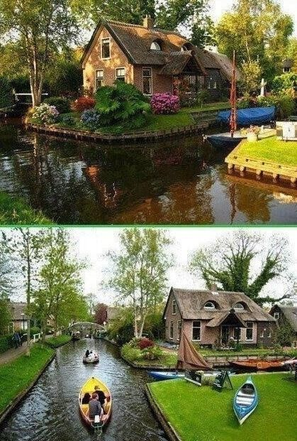 "SOMEONE TAKE ME HERE. THE TOWN WITH NO ROADS Giethoorn in Holland is a beautiful and quiet little village unique in that you will not find a single road in the entire town. Rather, it is connected by waterways and paths and some biking trails. Visitors are always welcomed and encouraged to rent an electric and noiseless ""Whisper Boat"" to explore this little piece of heaven on earth."