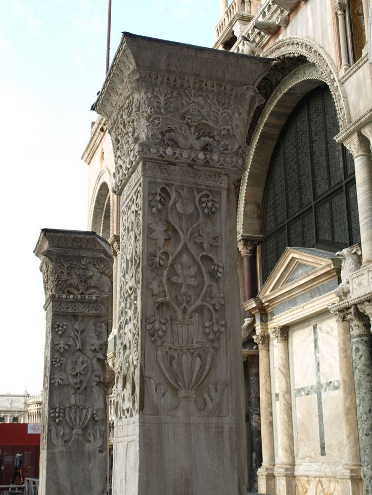 Pilastri Acritani in front of the South portal of San Marco basilica in Venice : they are spolia from the St Polyeuktos church in Constantinople (6th c.)