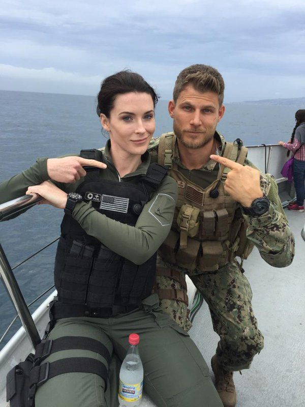 """bridgetreganing: """" @TheLastShipTNT: We know these two are locked, loaded and ready for S3! Check out this #BTS shot of @TVdub and @BridgetRegan at sea! """" @bridgetregan ♥♥"""