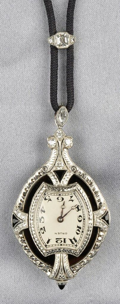 Art Deco Platinum, Hardstone Cameo, and Diamond Pendant Watch, the hardstone cameo depicting an Elizabethan maiden, within an elaborate mount set with old single- and old European-cut diamonds and fancy-cut onyx, millegrain and engraved accents, enclosing a Gruen Watch Co. 16-jewel manual-wind movement, the bail set with two marquise-cut diamonds, and suspended from black cord with an Asscher-cut diamond slide, pendant lg. 2 in.