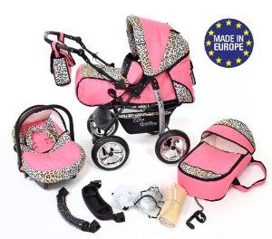 3-in-1 Travel System with Baby Pram, Car Seat, Pushchair & Accessories, Pink & Leopard: Amazon.co.uk: Baby
