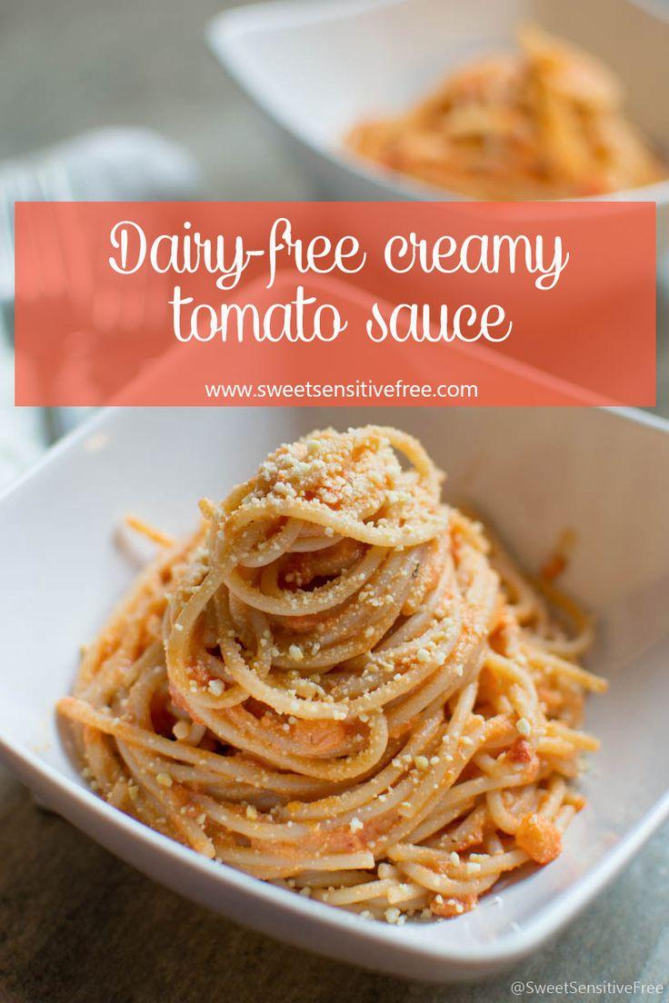 Dairy-free tomato cream sauce with cashew cheese // Salsa cremosa di pomodoro con salsa di anacardi, senza panna/latticini ---   #dairyfree #glutenfree #senzalattosio #senzaglutine #spaghetti #tomato #sauce