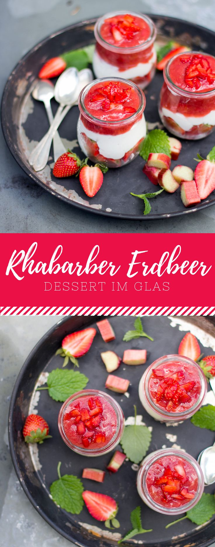 Rhabarber und Erdbeer ist DIE Kombination! Vereint in einem Schicht Dessert schmeckt es umso besser. Das Rezept für den Rhabarber Kompott und der Erdbeer Creme findest du auf meinem Blog.