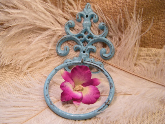 Aqua Blue Hand Towel Rack or Door Knocker - Turquoise -  Jewelry Holder - Shabby Distressed Cottage -  Bathroom Kitchen Decor Scroll Motif. $12.50, via Etsy.