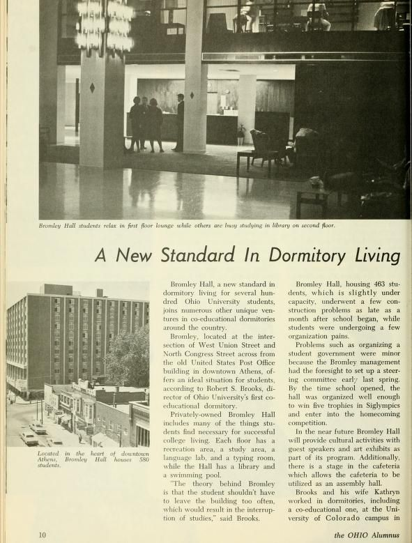"""The Ohio Alumnus, November 1965. """"A New Standard in Dormitory Living."""" Ohio University students in 1965 could choose to live in the privately-owned Bromley Hall, which had its own kitchen and a swimming pool. :: Ohio University Archives"""