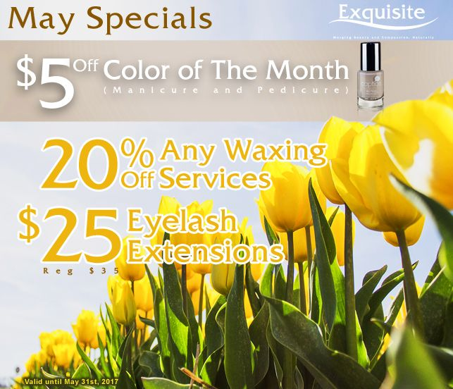 As May Brings Flowers.....  Exquisite Threading is Bringing These Amazing Specials For You!!!  ** $25 Eyelash Extensions (Regularly $35) ** 20% Off All Body Waxing Services ** 50% Off Any Hair Services by Ghada (Glendale Location Only)** ** 25% Off Men Hair Cuts by Oscar (Green Bay Location Only)** ** $5 Off Color Of The Month for Mani/Pedi (Green Bay & Glendale Locations Only)**  Don't miss out on these Amazing Offers, so call now to make your appointments or book on-line at…
