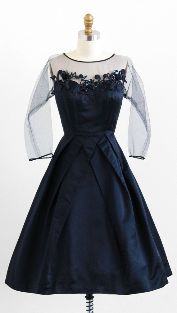 vintage 1950s midnight blooms silk evening dress by Pattullo-Jo Copeland | http://www.rococovintage.com