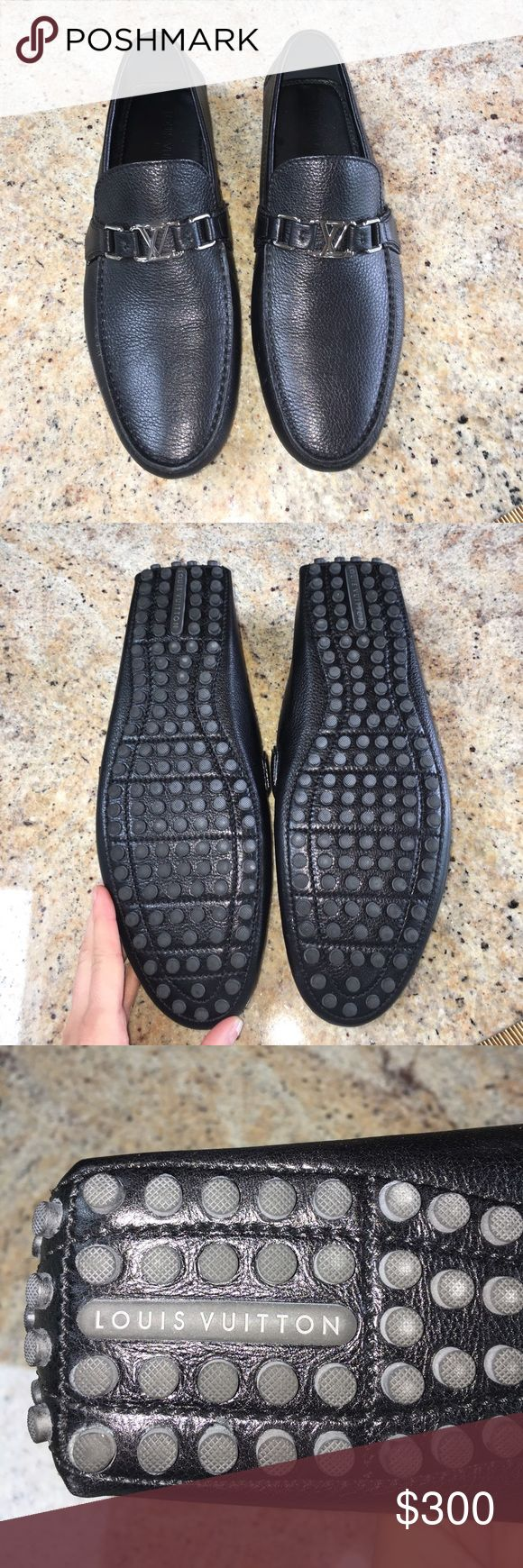 Men's Louis Vuitton black driving loafers Perfect condition, men's Louis Vuitton driving loafers. Silver buckle on front. Size 9.5 which I believe is equivalent to a men's 11/11.5. Only worn a couple times. Don't have box but authentic and perfect condition Louis Vuitton Shoes Loafers & Slip-Ons