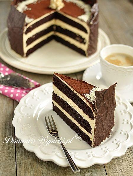Tort czekoladowy z masą karmelową - Chocolate cake with caramel