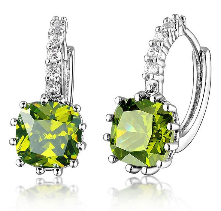 Silver Dangle Earrings With Zirconia (APPLE GREEN)