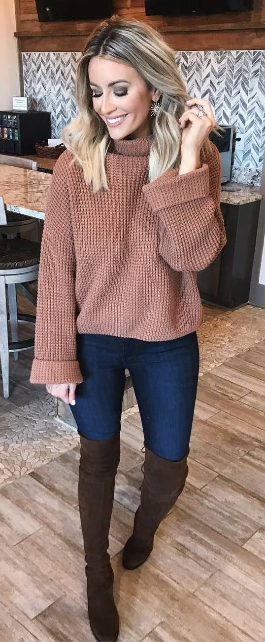 brown and denim | knit sweater   over knee boots   skinny jeans #women'sfashionstyleideas