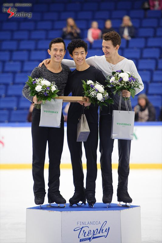 Fun on the men's podium at 2016 Finlandia Trophy: Patrick Chan was second in Espoo, behind training mate Nathan Chen, while Russia's Maxim Kovtun won the bronze