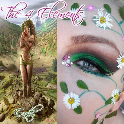 """Artistic green and brown """"flowery"""" make-up with crystal accents inspired by """"Earth"""" of """"The 4 Elements""""."""