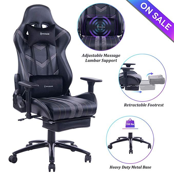 Von Racer Massage Gaming Chair Racing Office Chair Adjustable Massage Lumbar Cushion Office Chair Lumbar Support Reclining Office Chair Gaming Chair