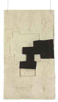 'Gravitation' (1989) by Spanish artist Eduardo Chillida (1924-2002). Ink & hand-made paper collage with string,  15.25 x 9 in. via Christies