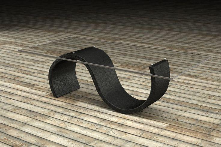 Articolo 416-10     Tavolino da salotto Crono - Finitura: nero opaco.Misure: cm 110 x 65  - Altezza: cm 38 - Peso: Kg. 42 - Vetro: rettangolare -  temperato - extrawhite - filo lucido - spessore 1 cm