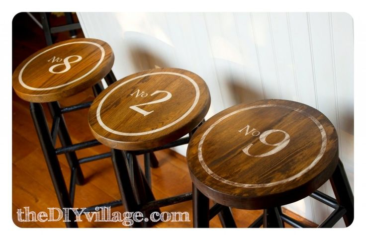Via the 36th avenue  I have a thing for numbers!  The DIY Village did a great job making these barstools simply fabulous!